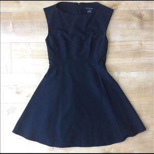 Navy blue fit n flare mini dress